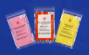 Biohazard bags color-coded by temperature